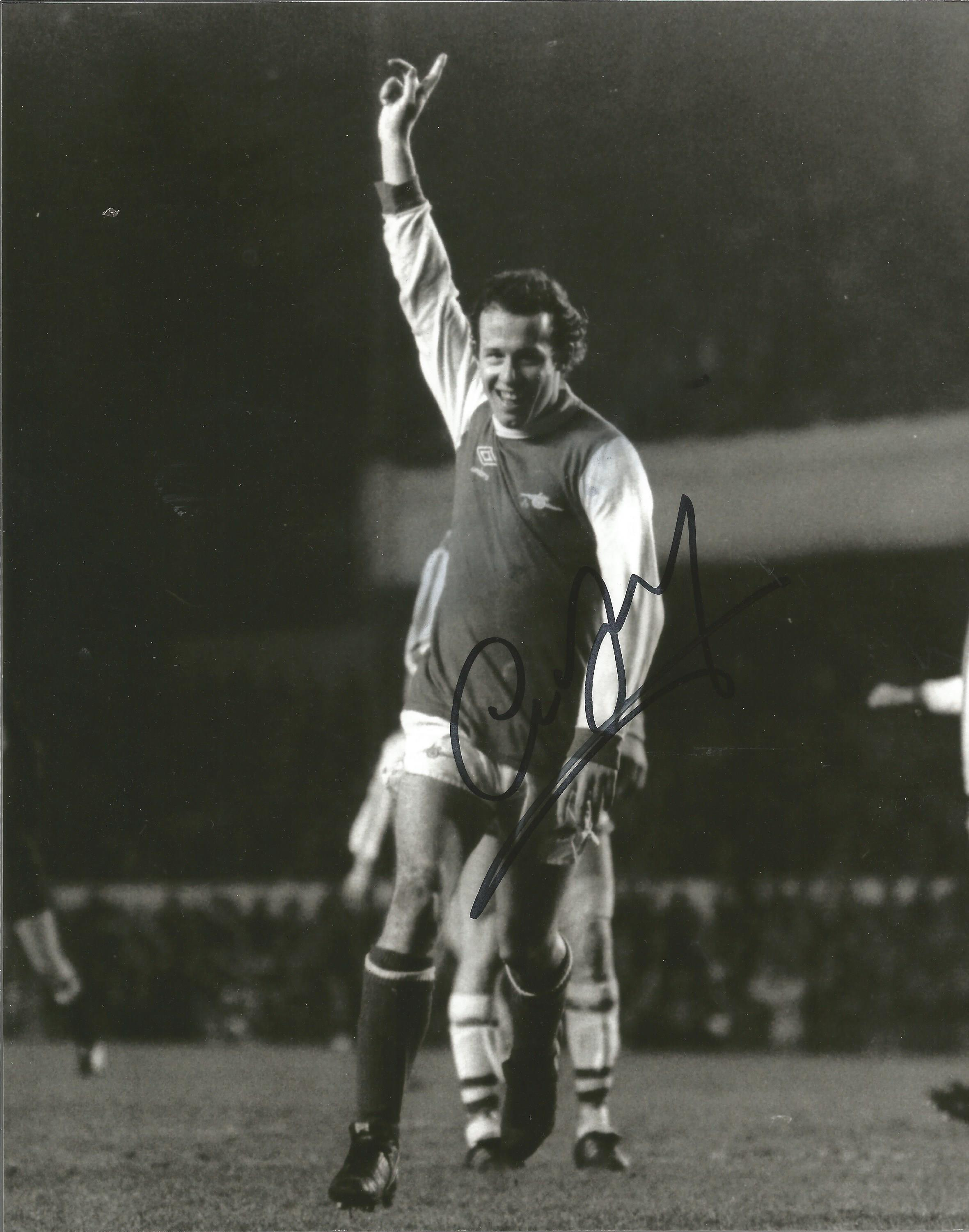 Football, Liam Brady signed 10x8 black and white photograph taken as he celebrates playing for
