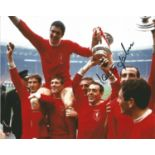 Football, Ian St John 10x8 signed colour photograph taken as he celebrates with his Liverpool team
