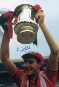 Autographed Norman Whiteside 12 X 8 Photo Colour, Depicting The Man United Forward Holding Aloft The