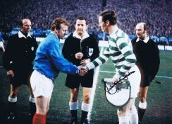 Billy Mcneill 1970: Autographed 16 X 12 Photo, Depicting Celtic Captain Billy Mcneill Shaking