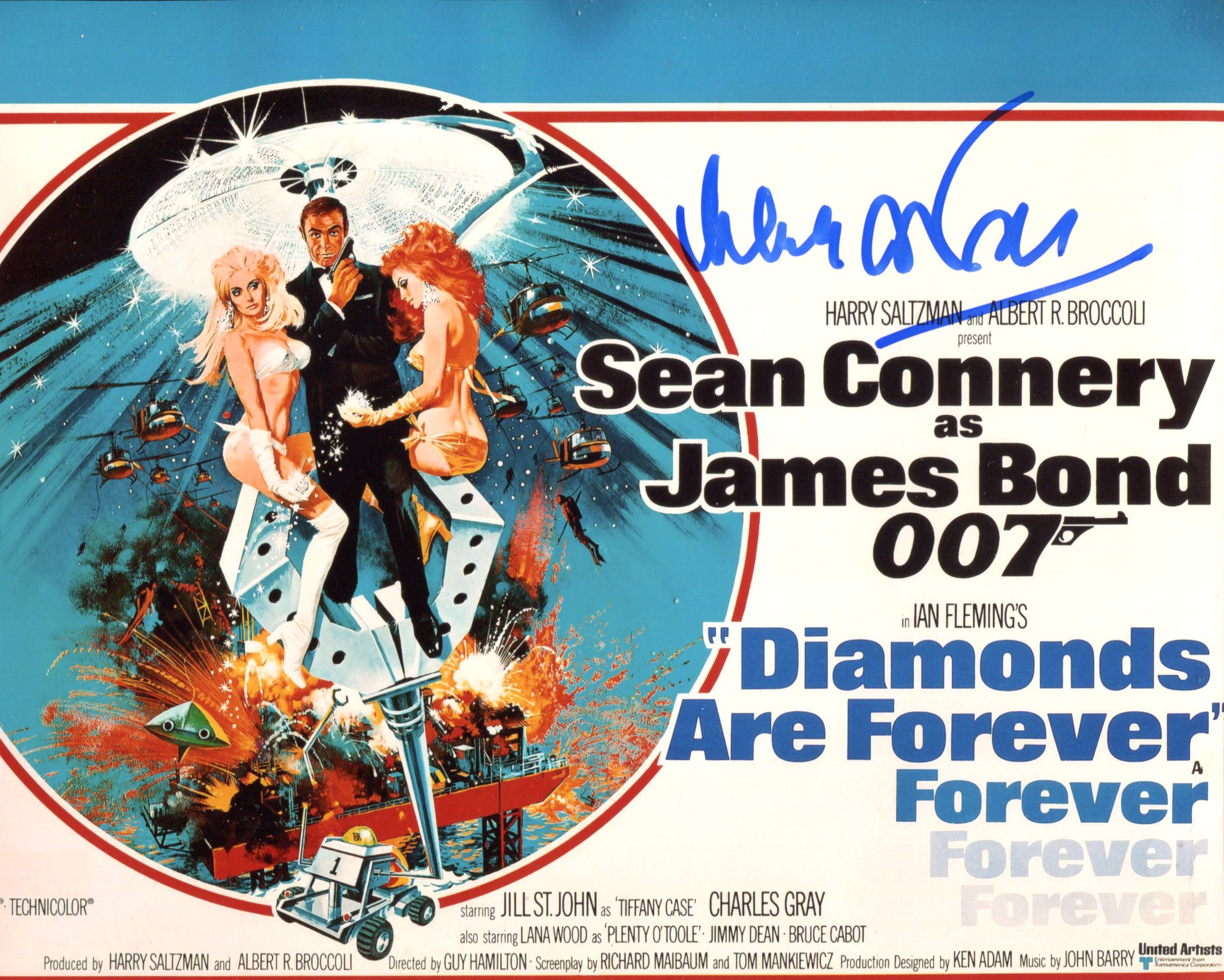 007 Bond girl Lana Wood signed 8x10 Diamonds are Forever poster photo. Good condition. All