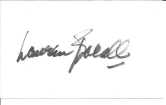 Lauren Bacall signed white card. Bacall was an American actress who was named the 20th-greatest