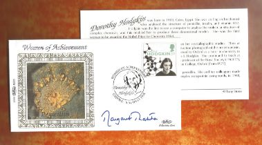 Margaret Thatcher signed FDC celebrating Women of Achievement. This cover is post marked 6th