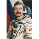 Aleksandr Lazutkin, Russian Soyuz Cosmonaut signed 6 x 4 colour photo. He was selected as