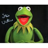 Kermit the Frog, lovely 8x10 photo signed by Kermit's voice, actor Steve Whitmire. Good condition.