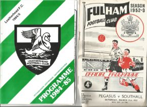Vintage Football Programme Collection Including Fulham 1952-1953, Ilford 1957-1958, Wimbledon 1957-