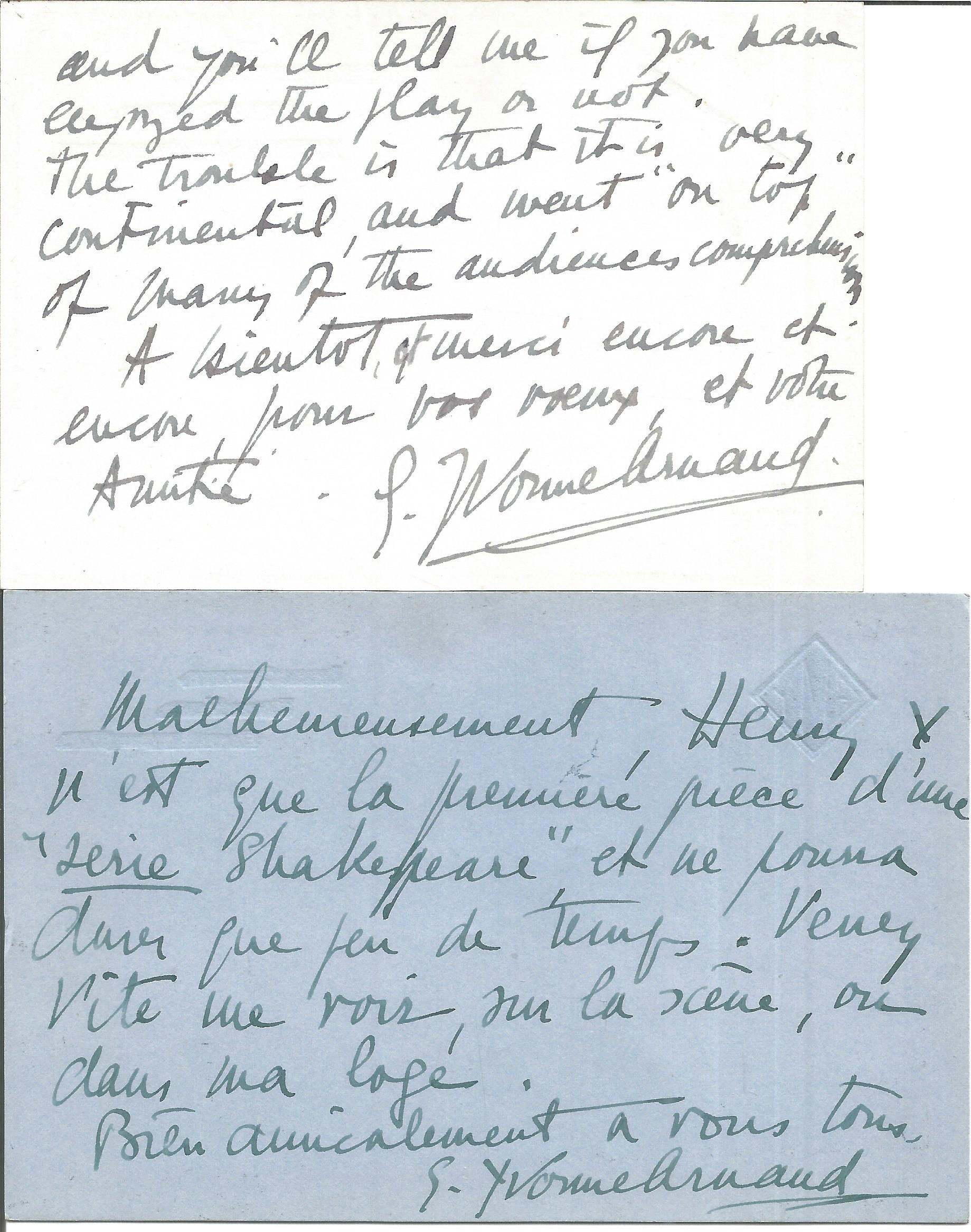 Yvonne Arnaud two hand written corresp. cards to Ginette Spanier (in French), director of the. - Image 2 of 2