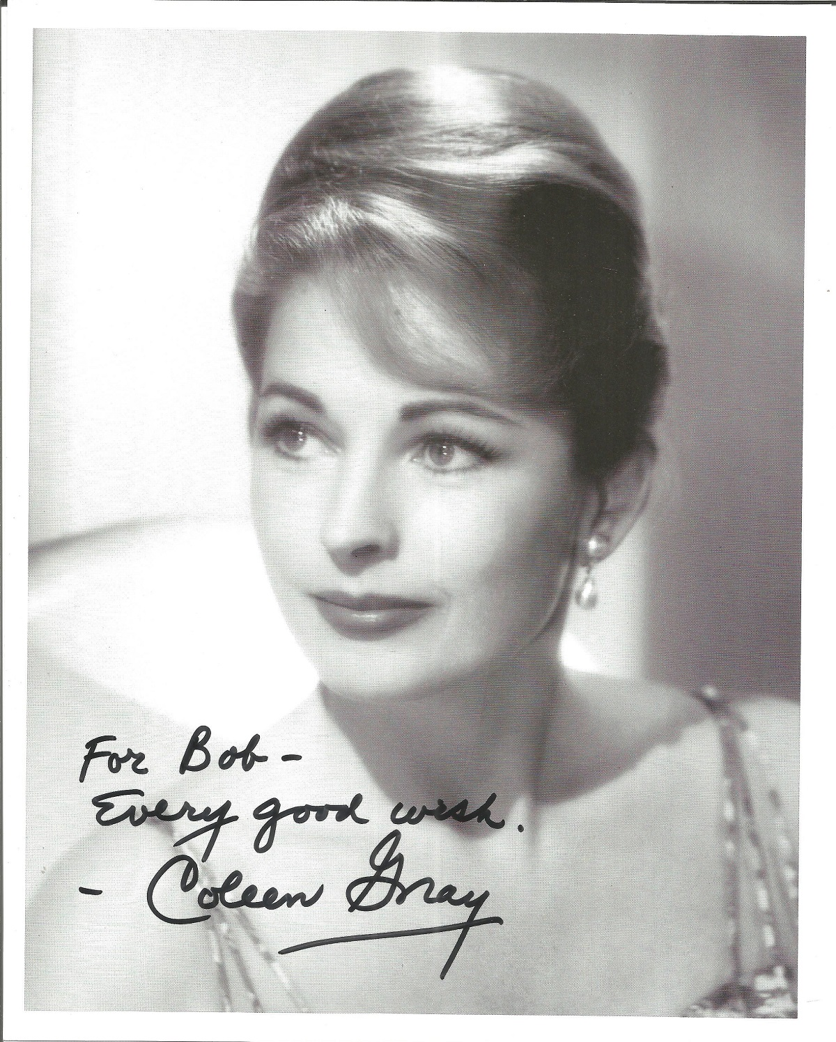 Coleen Gray signed 10x8 black and white image. Dedicated to Bob. Coleen was an actress best known