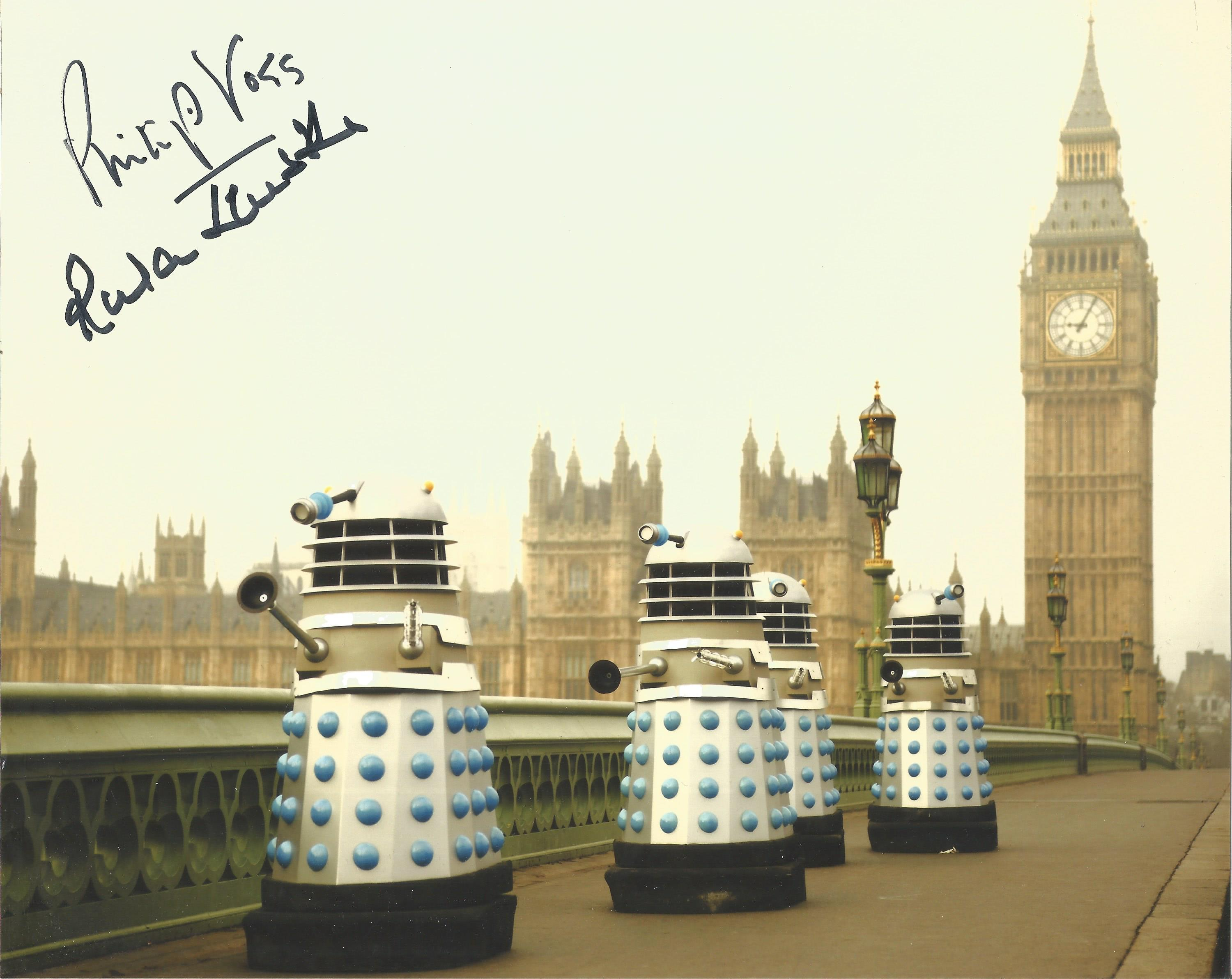 Philip Voss and Rula Lenska signed Dalek image from British Television show Doctor Who. Image is