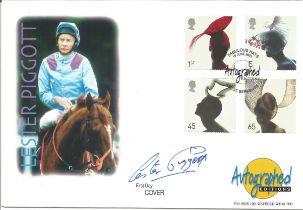 FDC for Lester Piggott. Signed by himself. Postmark 19th June 2001. Full Set. Good condition. All