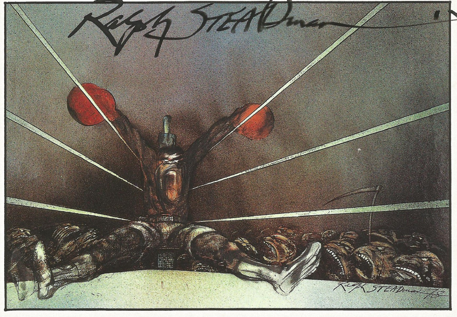 Ralph Steadman signed postcard. Steadman is renowned for his political and social caricatures,
