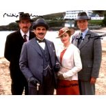 Poirot cast signed photo 8x10 photo signed by Hugh Fraser, Pauline Moran and Philip Jackson. Good
