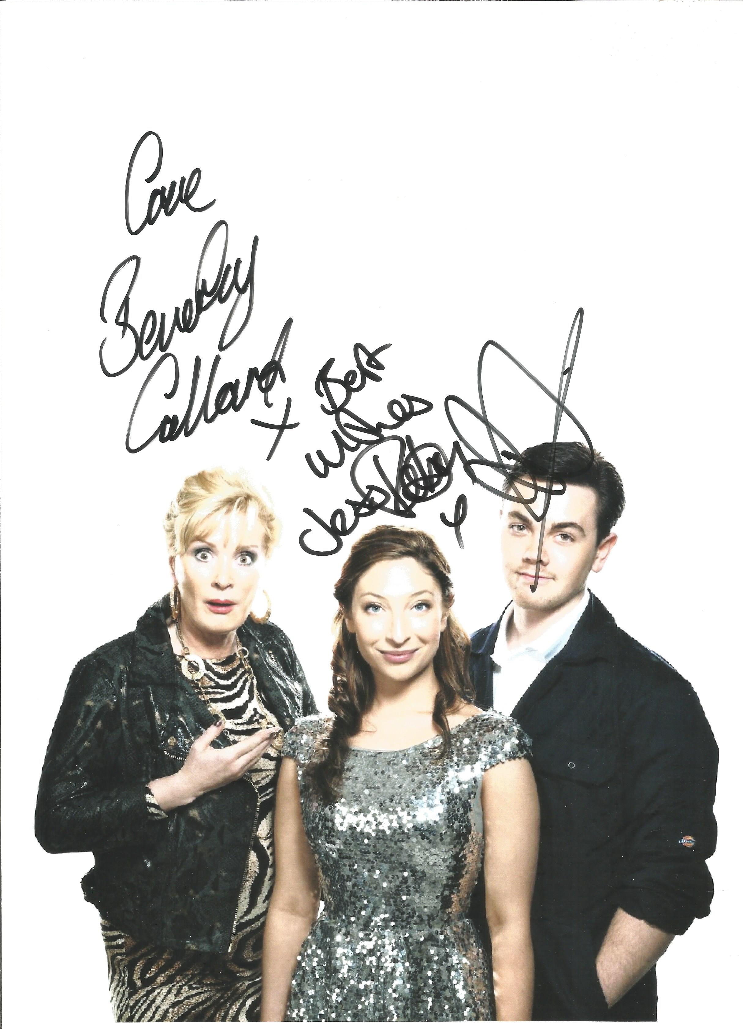 Beverley Callard, Jess Robinson and Ray Quin signed 12x10 Rise and Fall of little Voice colour