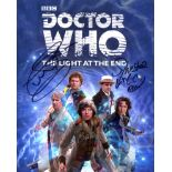 Doctor Who 8x10 photo signed by FOUR actors who were actually the Doctor himself, Tom Baker, Colin