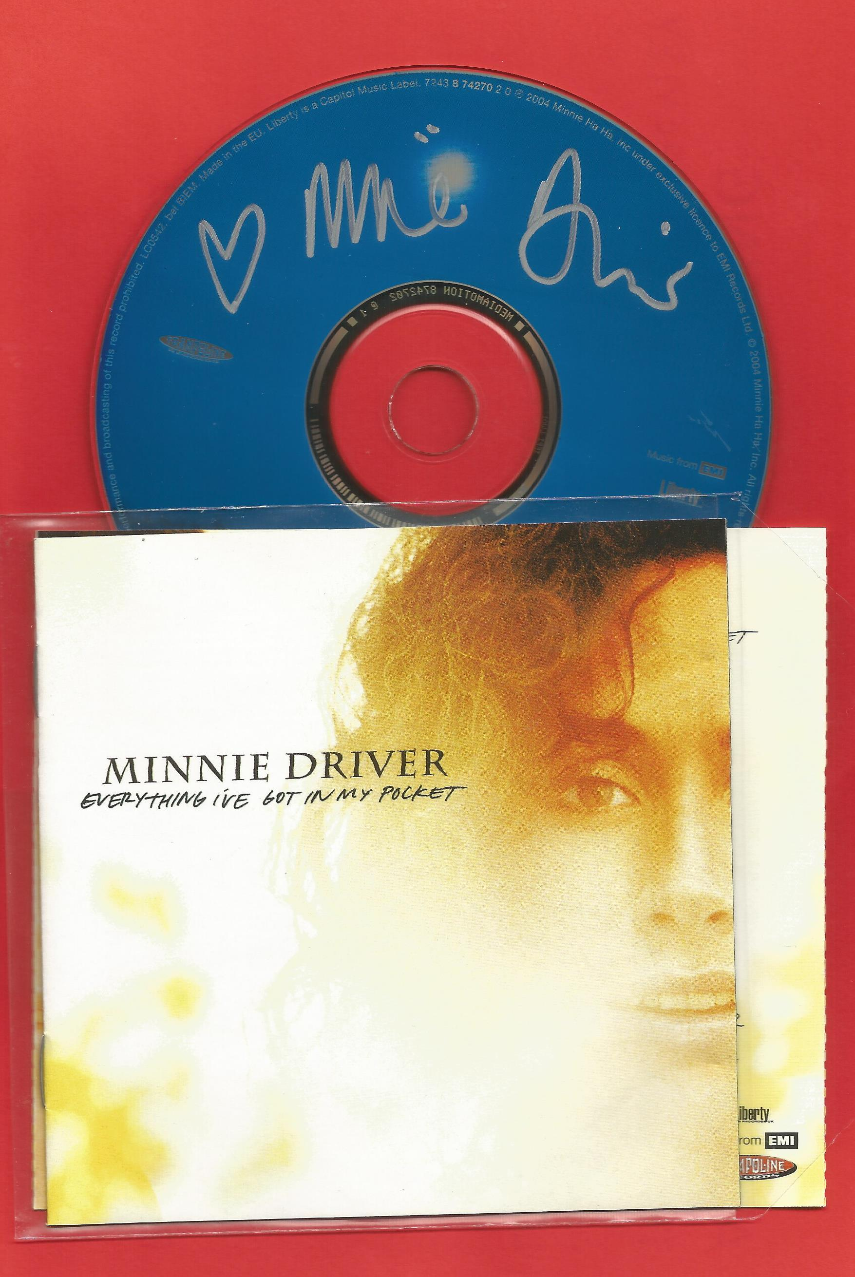 MINNIE DRIVER Actress and Singer signed CD Everything I've Got In My Pocket . Good condition. All