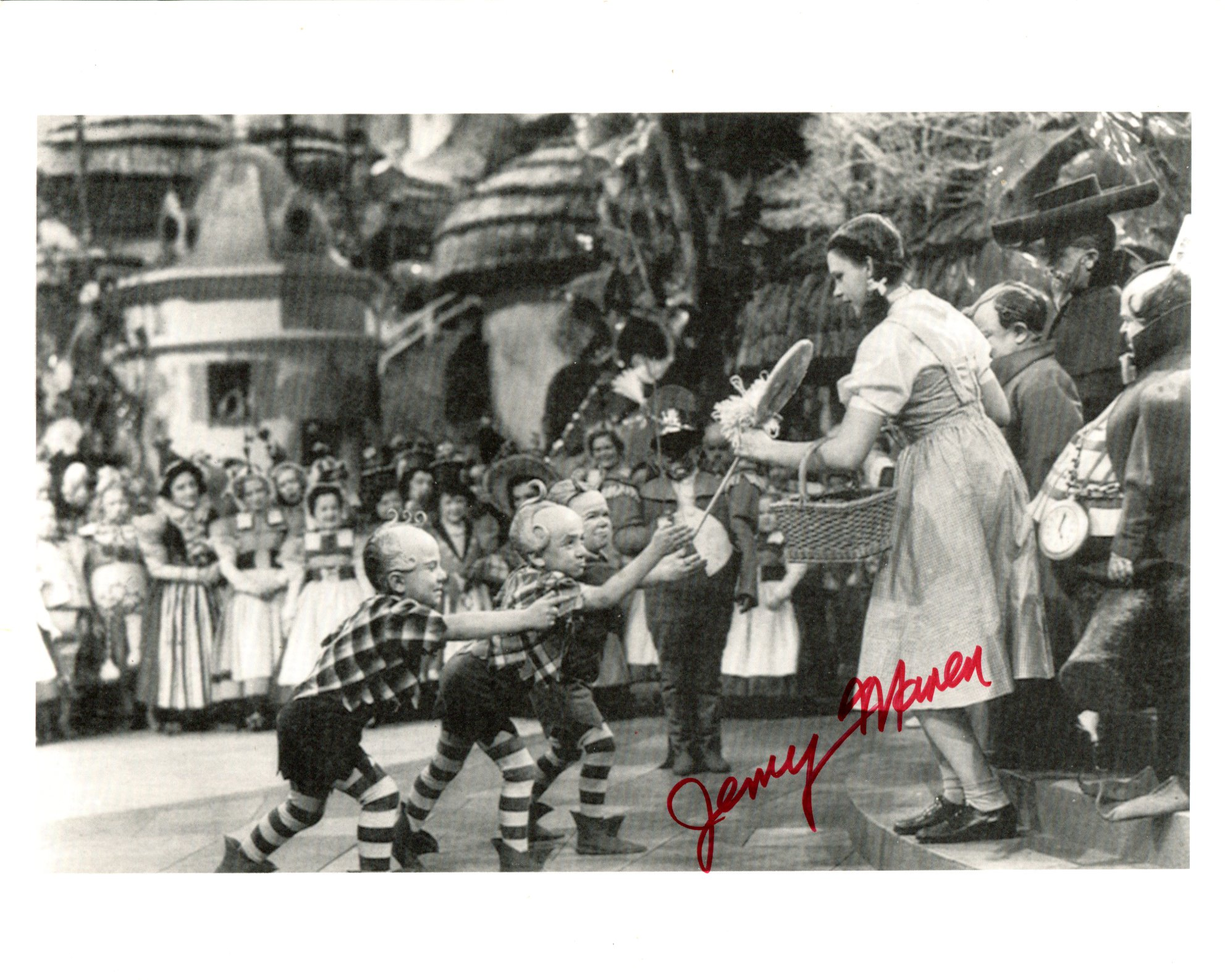 The Wizard of Oz, 8x10 scene photo signed by actor Jerry Maren who played one of the Munchkins. Good