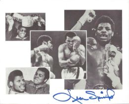 Leon Spinks signed 10x8 black and white promo photograph. This lovely collage features this American