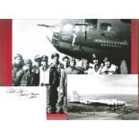 WW2 B17 Memphis Belle 6x4 black and white photograph complete with signed card from Captain Robert