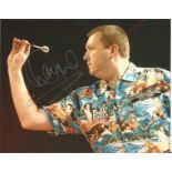 Wayne Mardle signed 8x10 colour Darts photo Hawaii 501 pictured in action. Good condition. All