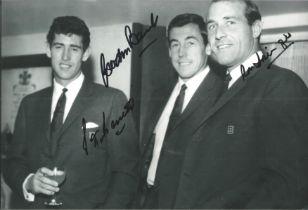 Football, Gordon Banks, Ronald Springett, Pete Bonetti signed 12x6 black and white photograph.