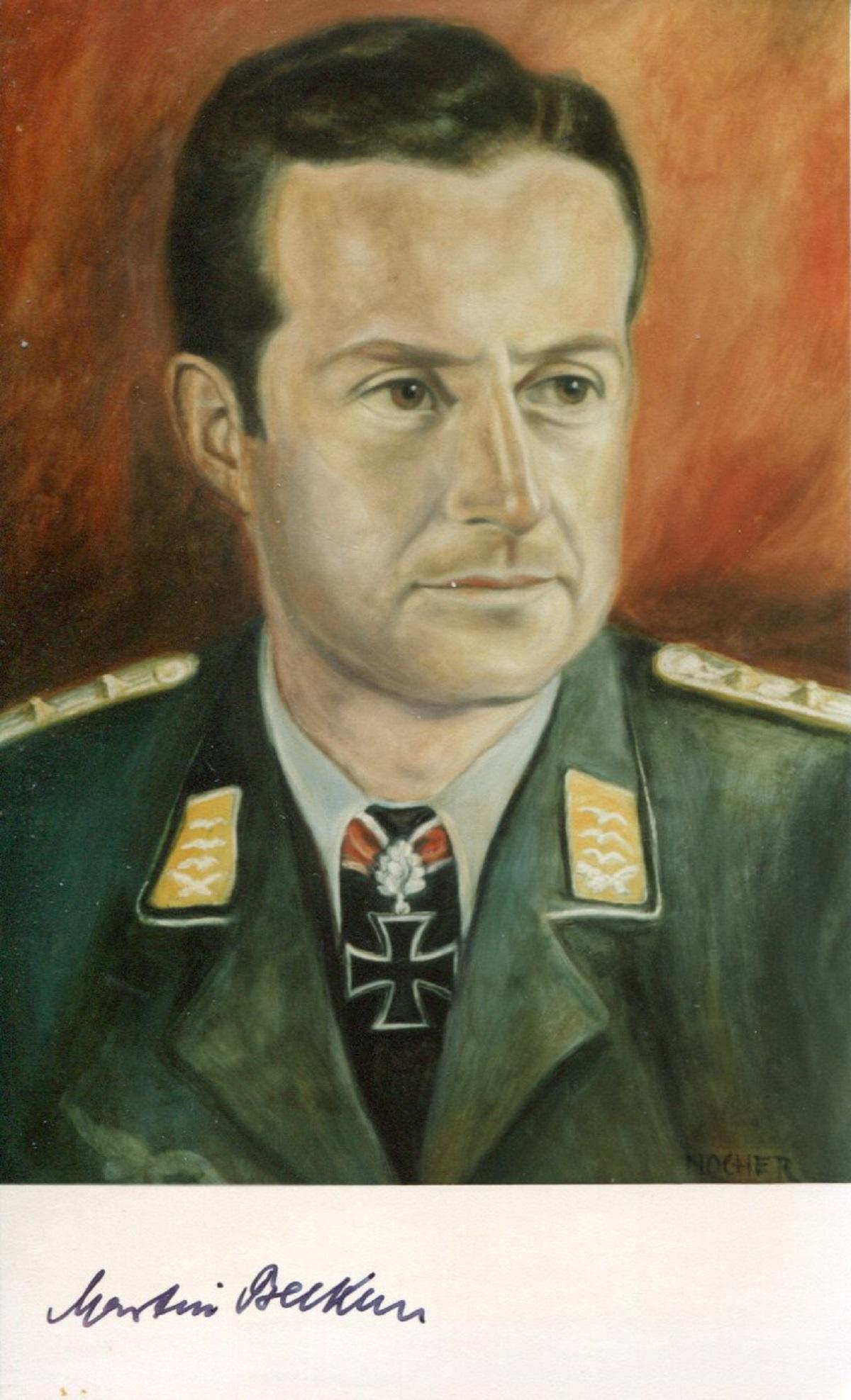 Luftwaffe Knights Cross ace pilot Martin Becker KC signed 6x4 photo. Good condition. All