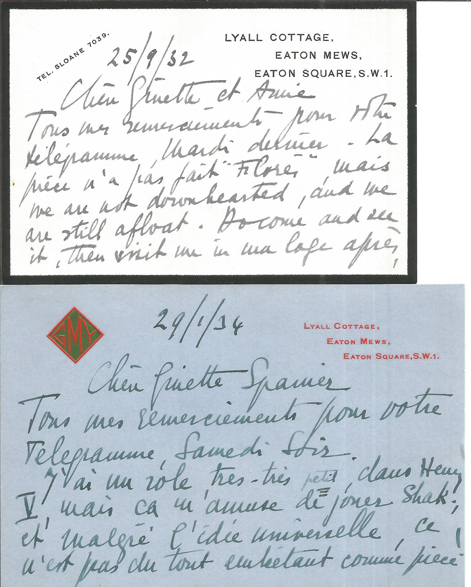 Yvonne Arnaud two hand written corresp. cards to Ginette Spanier (in French), director of the.