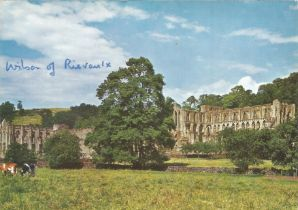 Prime Minister Harold Wilson signed 6 x 4 inch colour postcard of Rievaulx Abbey. Good condition.