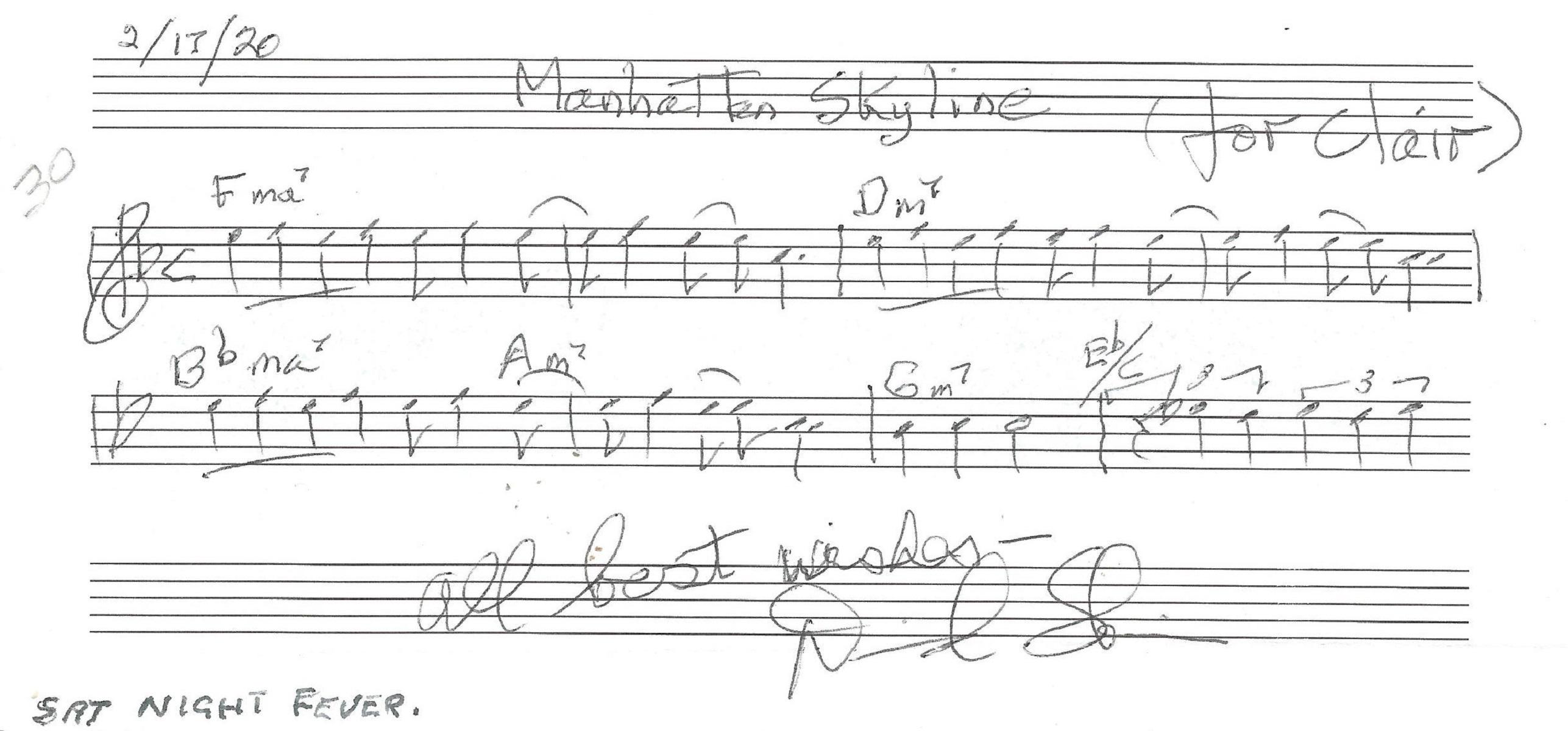 David Shire music score dedicated signature piece featuring Manhattan Skyline, from Saturday Night