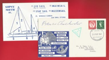 Francis Chichester signed cover celebrating Drake and Chichester who circumnavigated the world in