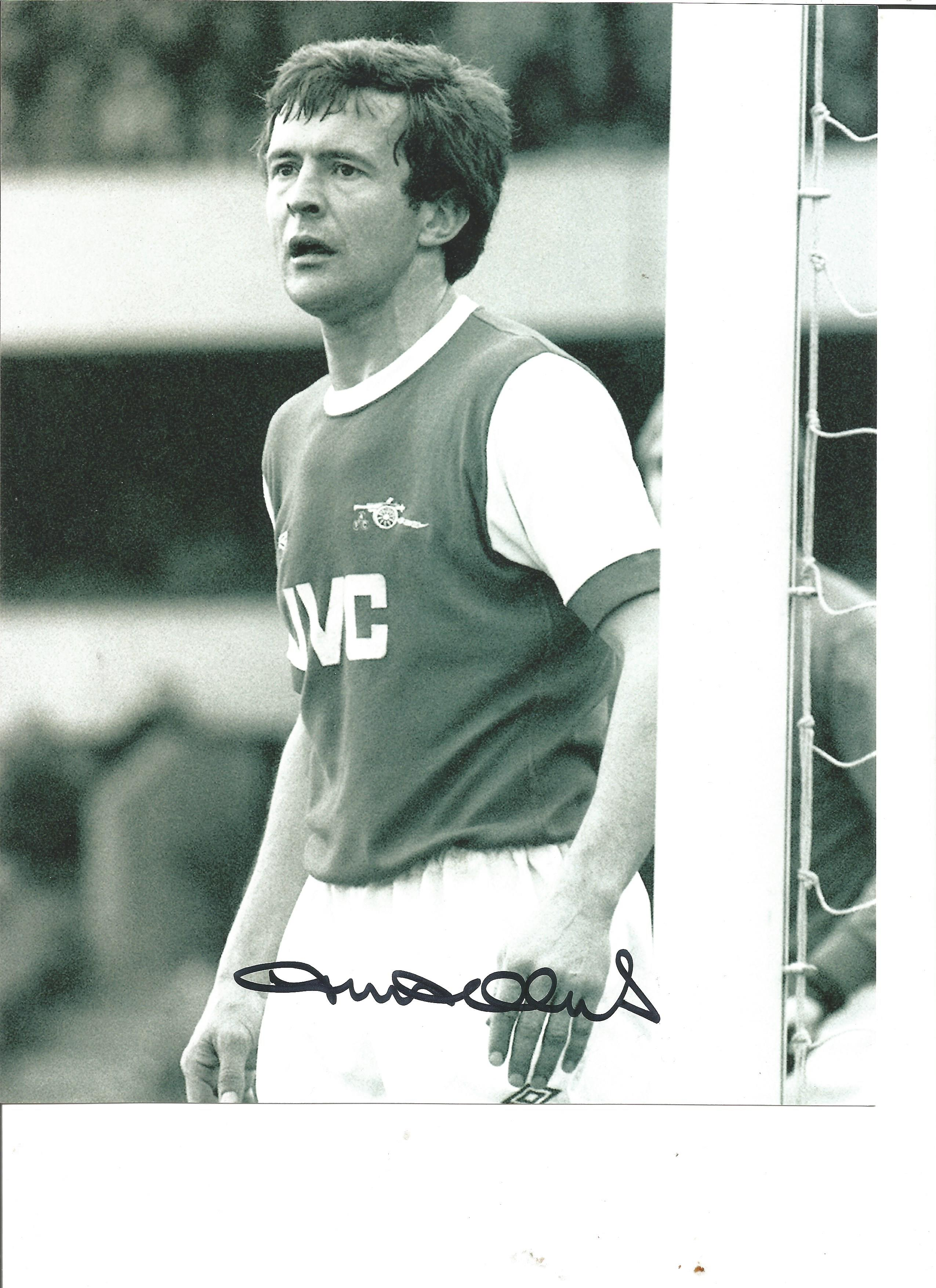 Football John Hollins signed 10x8 black and white photo pictured while playing for Arsenal. John