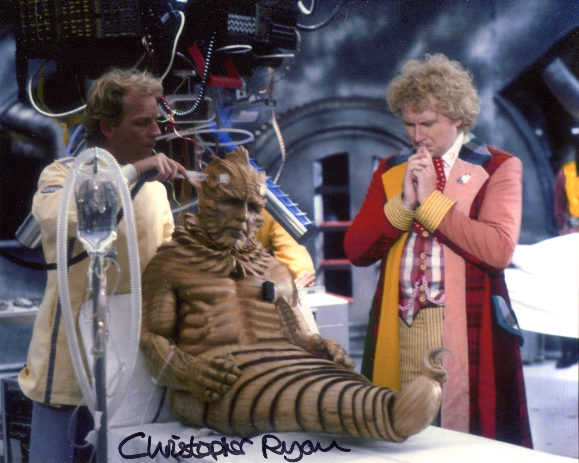 Doctor Who 8x10 inch photo scene signed by actor Christopher Ryan who played Lord Kiv. Good