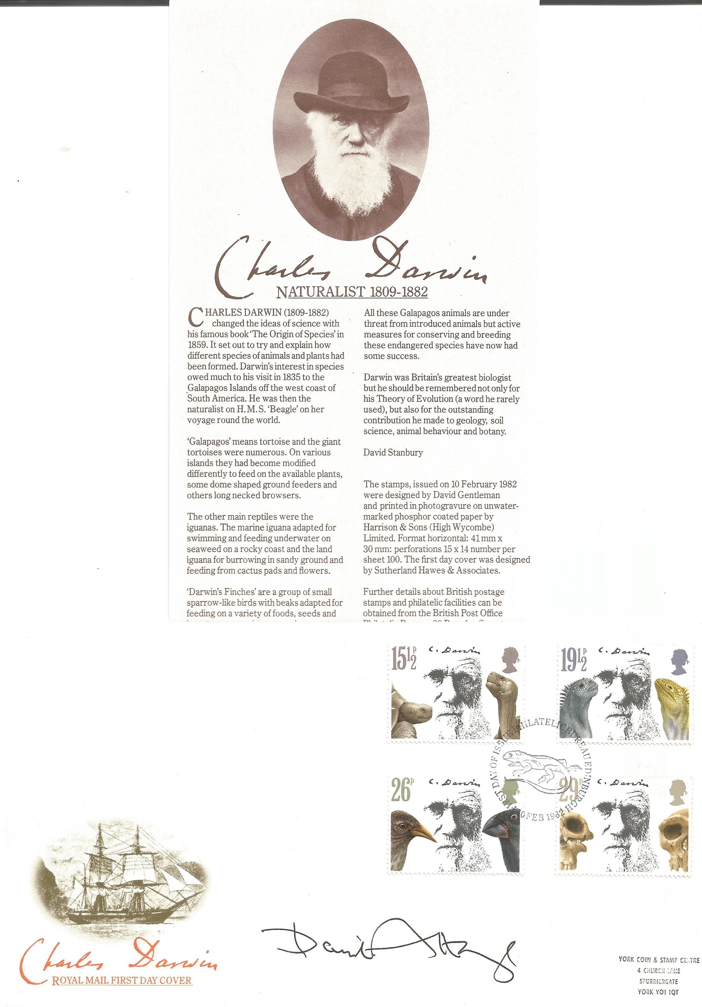 David Attenborough signed FDC commemorating Charles Darwin. This lovely cover also includes an