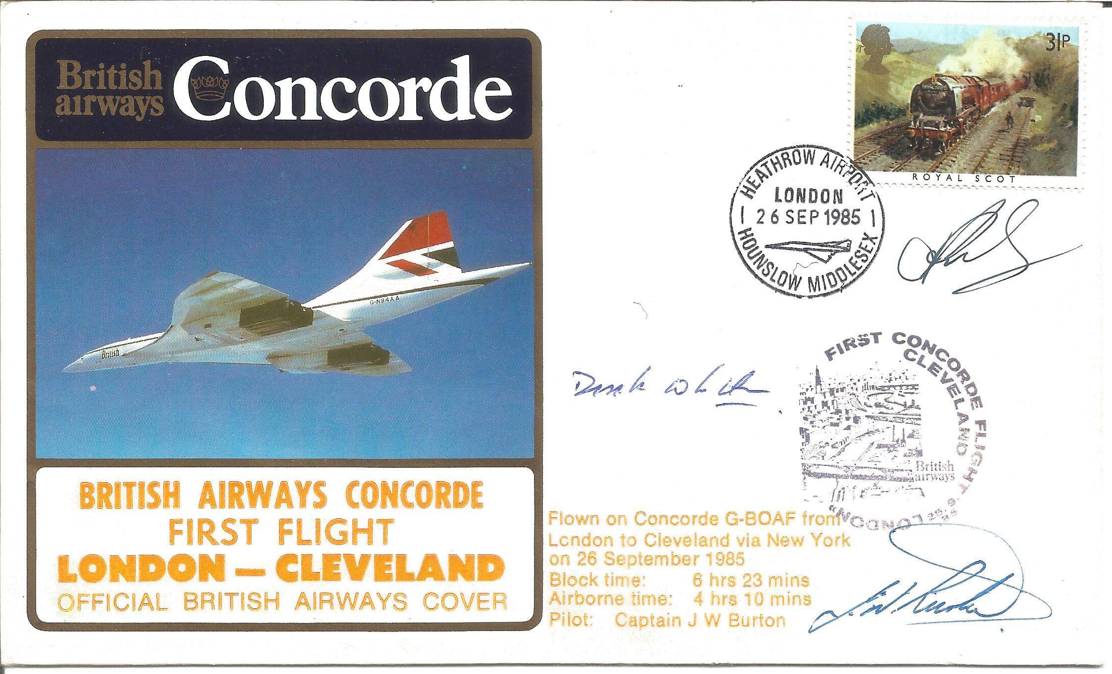 Rare Official British Airways' Concorde 1st Flight- London- Cleveland Flown Cover Signed by Three