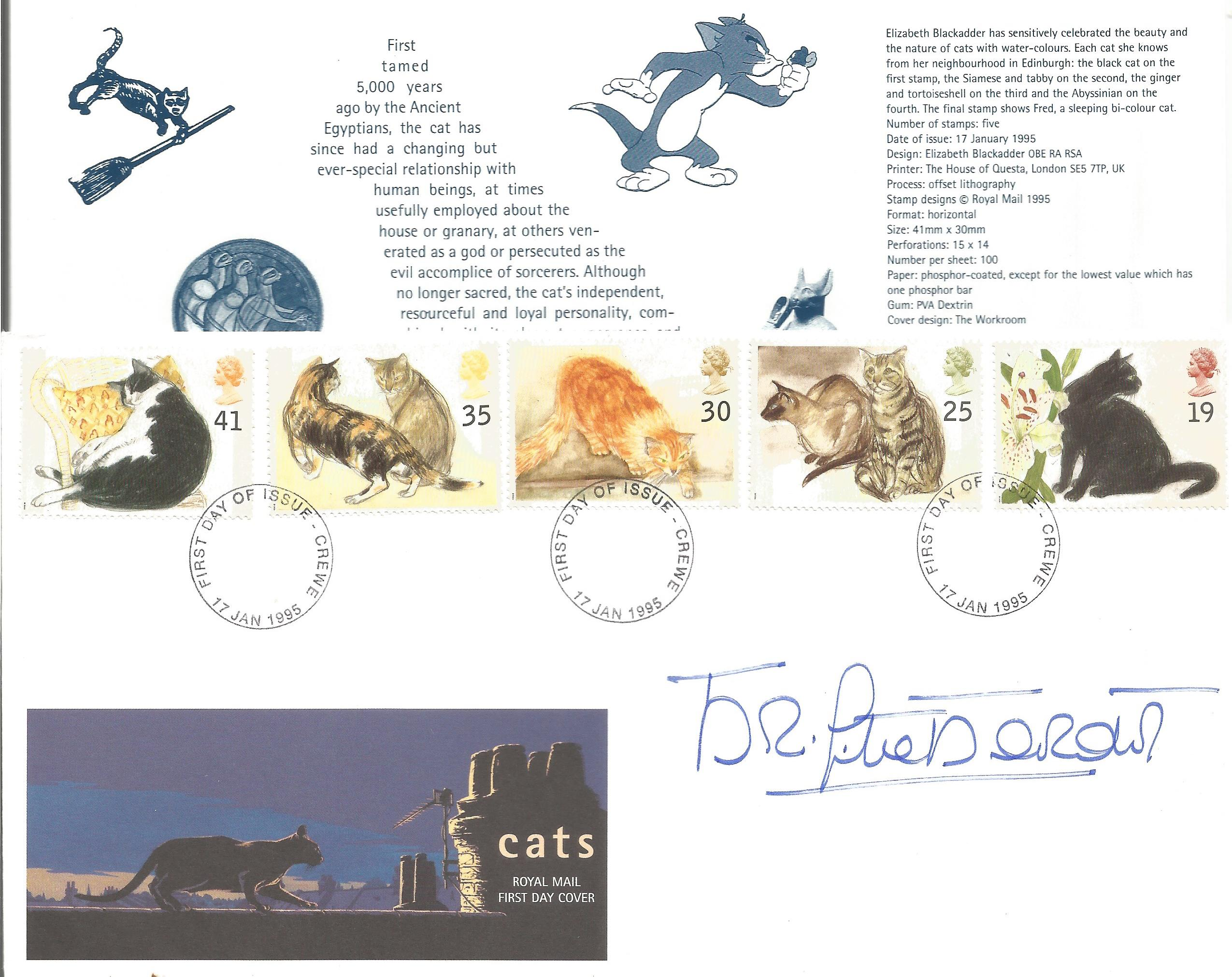 Brigitte Bardot signed FDC in honour of cats. Triple post marked dated 17th January 1995, Crewe,
