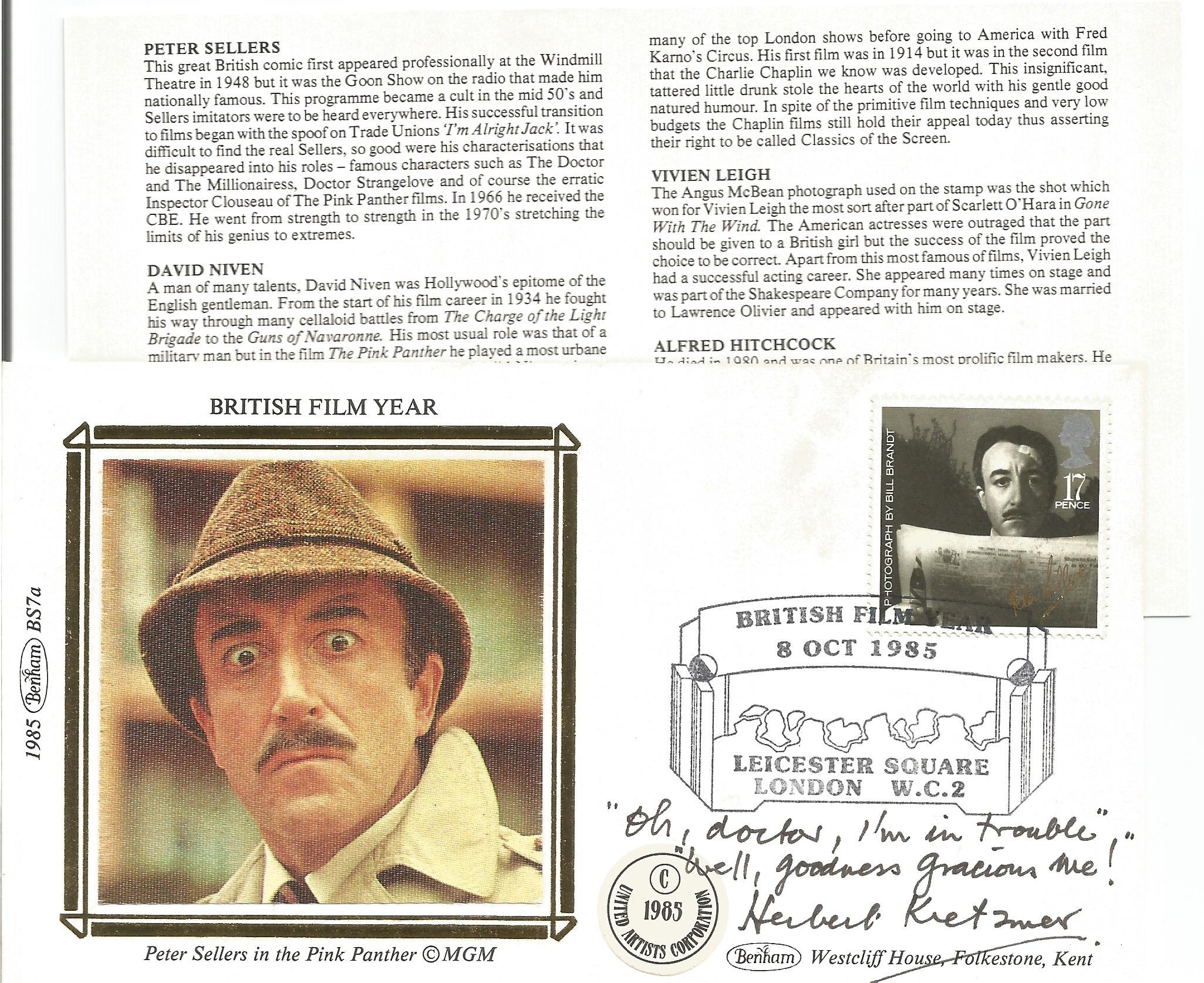 Herbert Kretzmer signed FDC inscribed with lyrics from his song Goodness Gracious Me in the 1960s