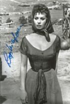 Sophia Loren signed 12x8 black and white photograph. Loren was named by the American Film
