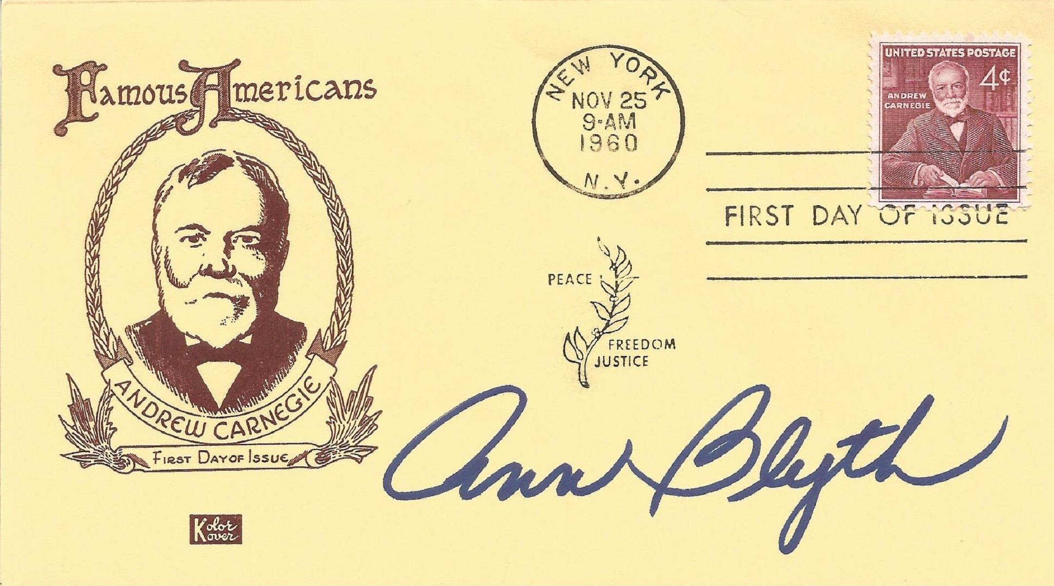 Ann Blyth signed FDC celebrating Famous Americans. Post marked 2nd November 1960 , New York. Blyth