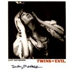 Twins of Dracula horror movie photo signed by actress Judy Matheson. Good condition. All