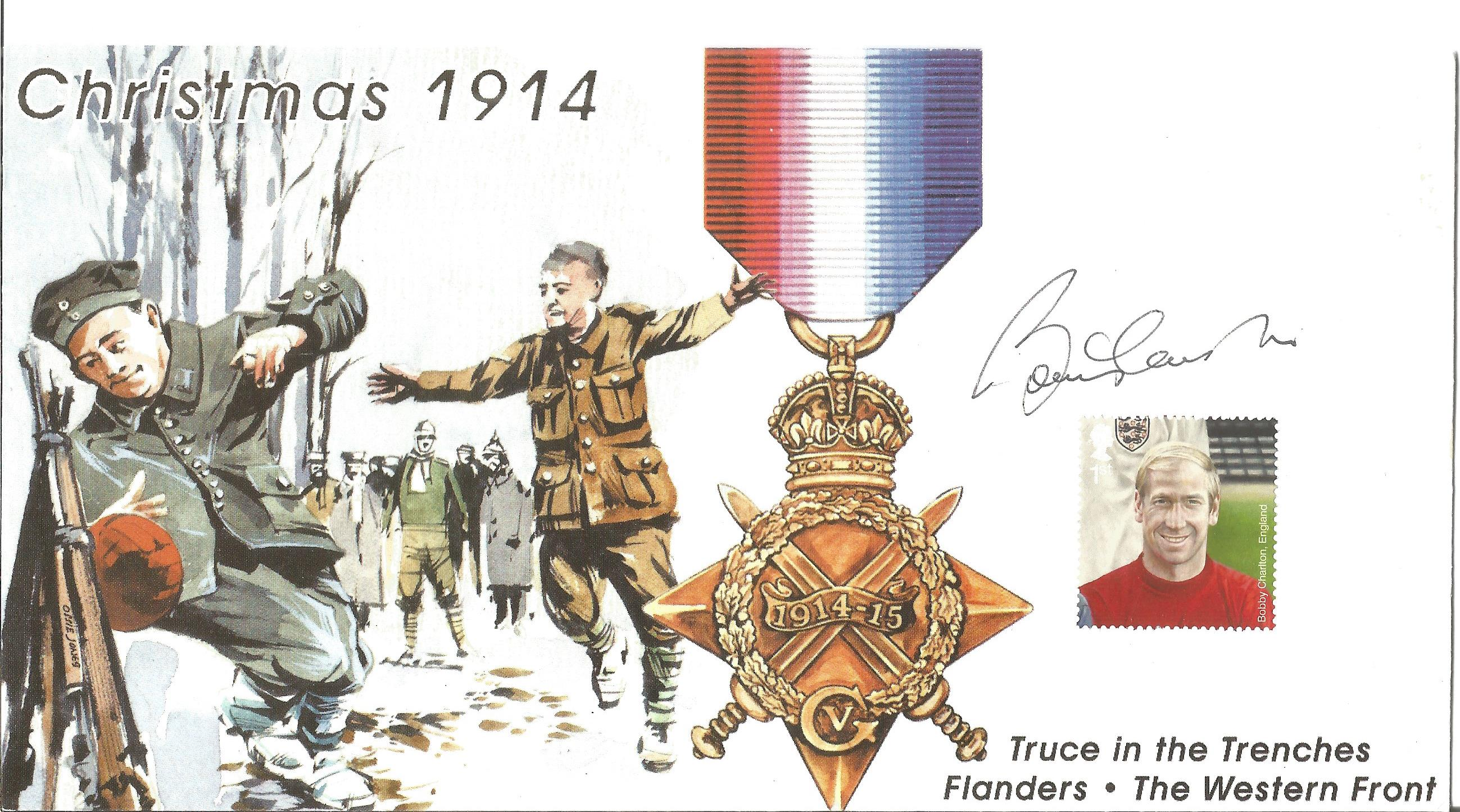 Bobby Charlton signed FDC to commemorate the truce in the trenches Christmas 1914 on the western