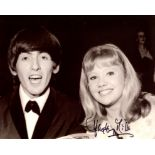 Hayley Mills signed 8x10 photo pictured with George Harrison of the Beatles. Good condition. All
