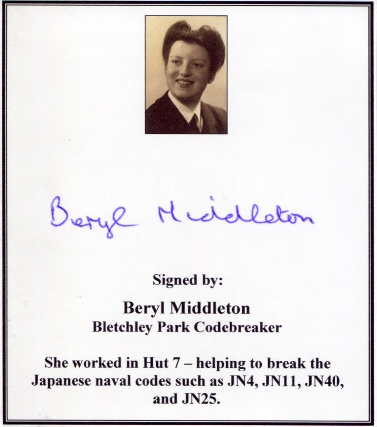 Bletchley Park codebreaker Beryl Middleton signed bookplate, ideal for either a book or display.