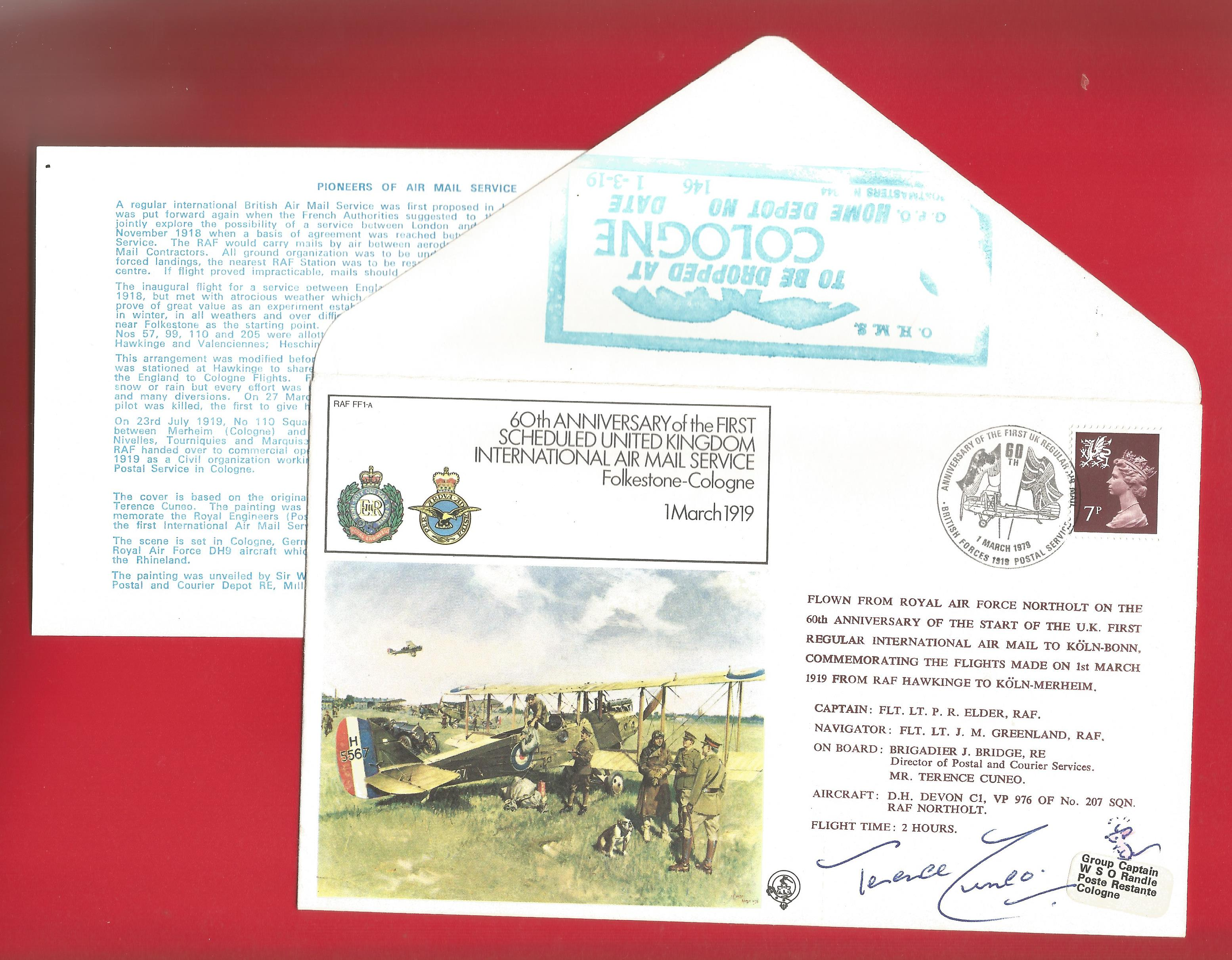 Terence Cuneo, Director of Postal and Courier Services signed FDC celebrating the 60th Anniversary