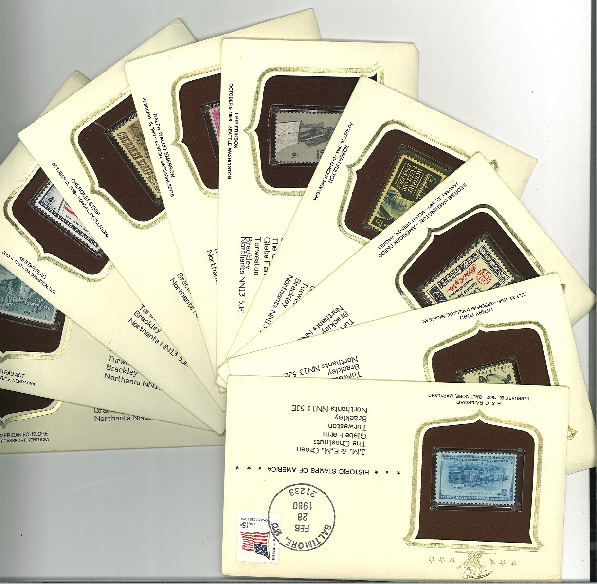 Collection of 74 FDC Historic Stamps of America with Various Postmarks and Stamps, Including