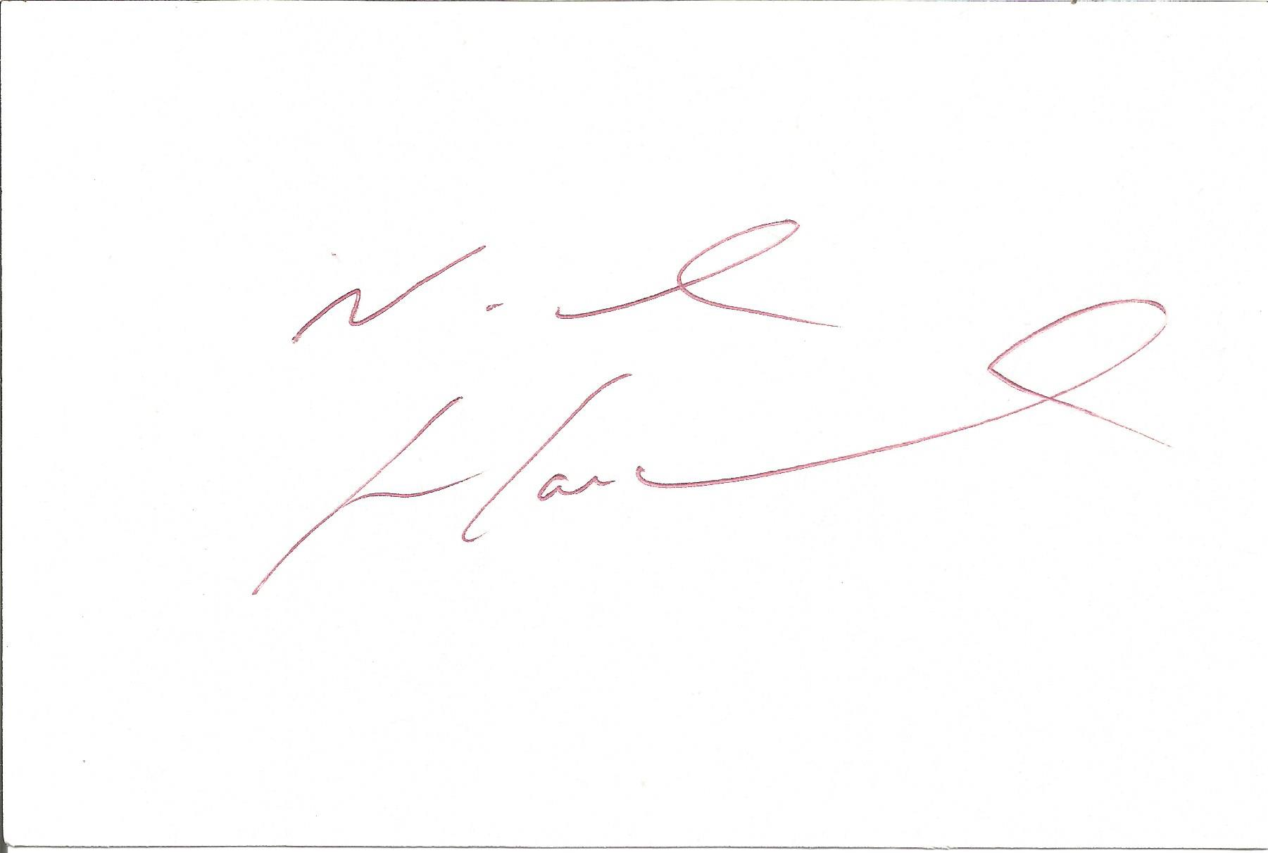 Nick Hancock signed 6x4 white card. Good Condition. All autographs come with a Certificate of.