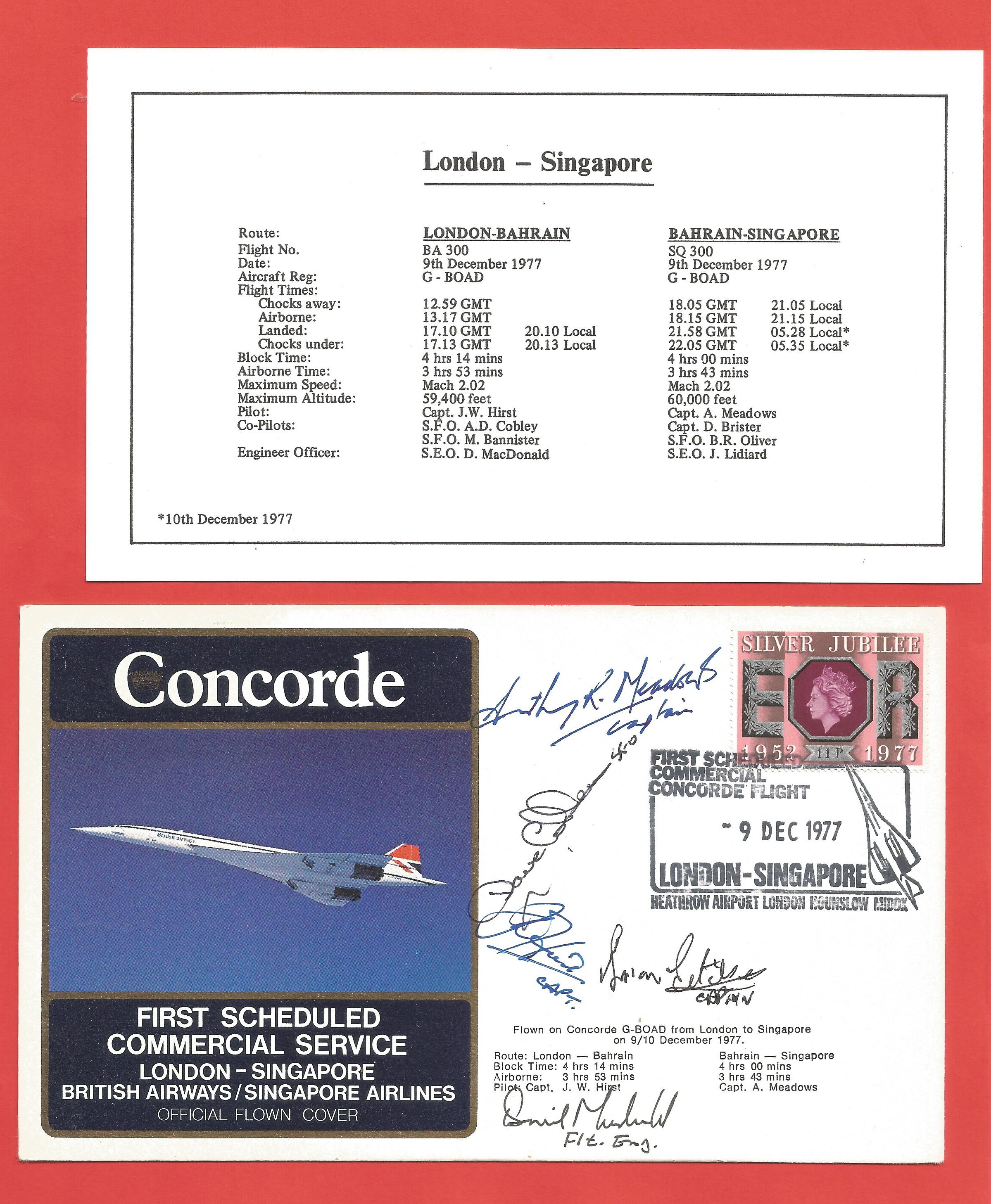 Concorde Crew signed British Airways First Flight cover. Flown 1st Scheduled Commercial Service from