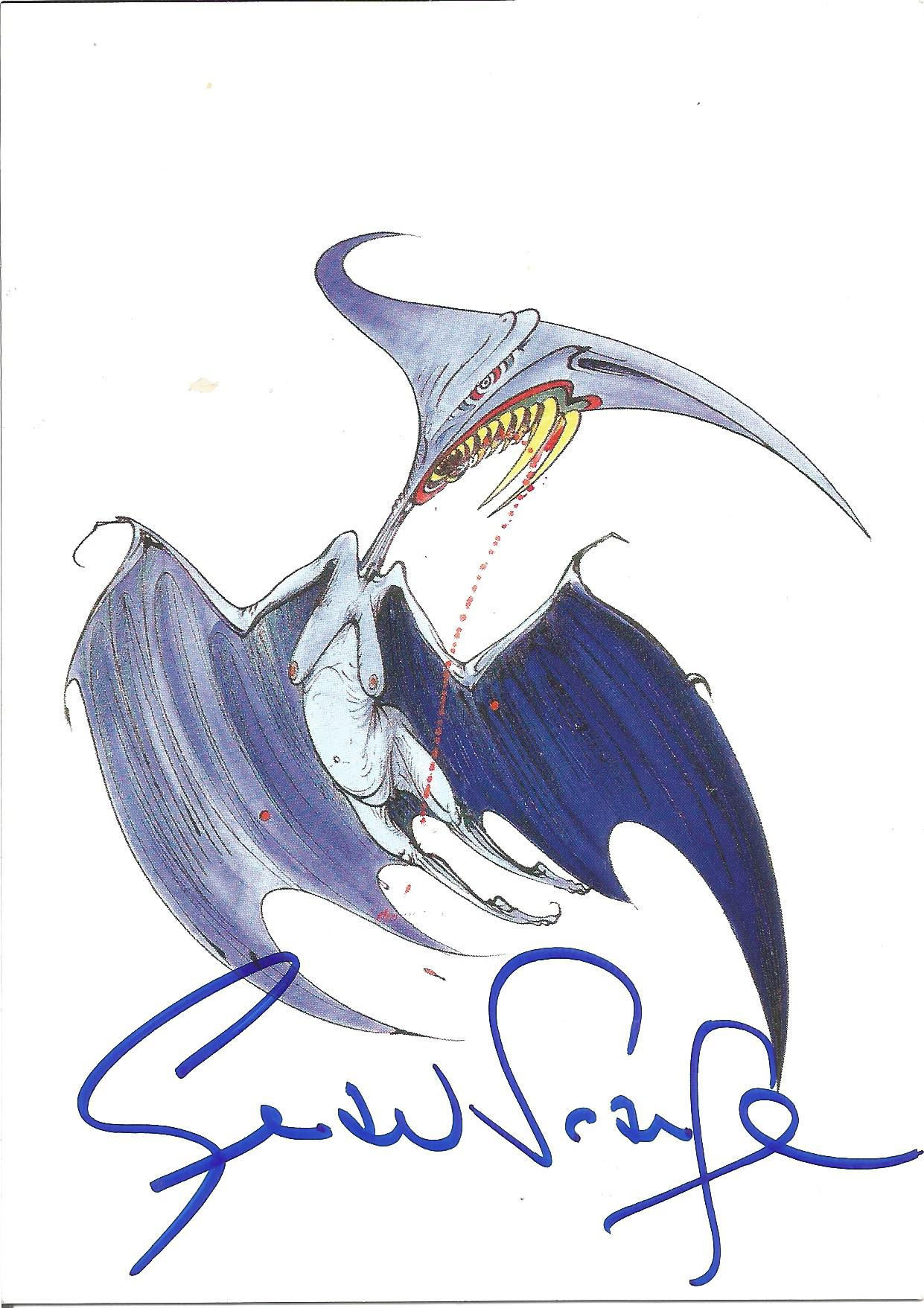 Gerald Scarfe signed postcard of his illustration Margaret Thatcher: Torydactyle. Scarfe is an