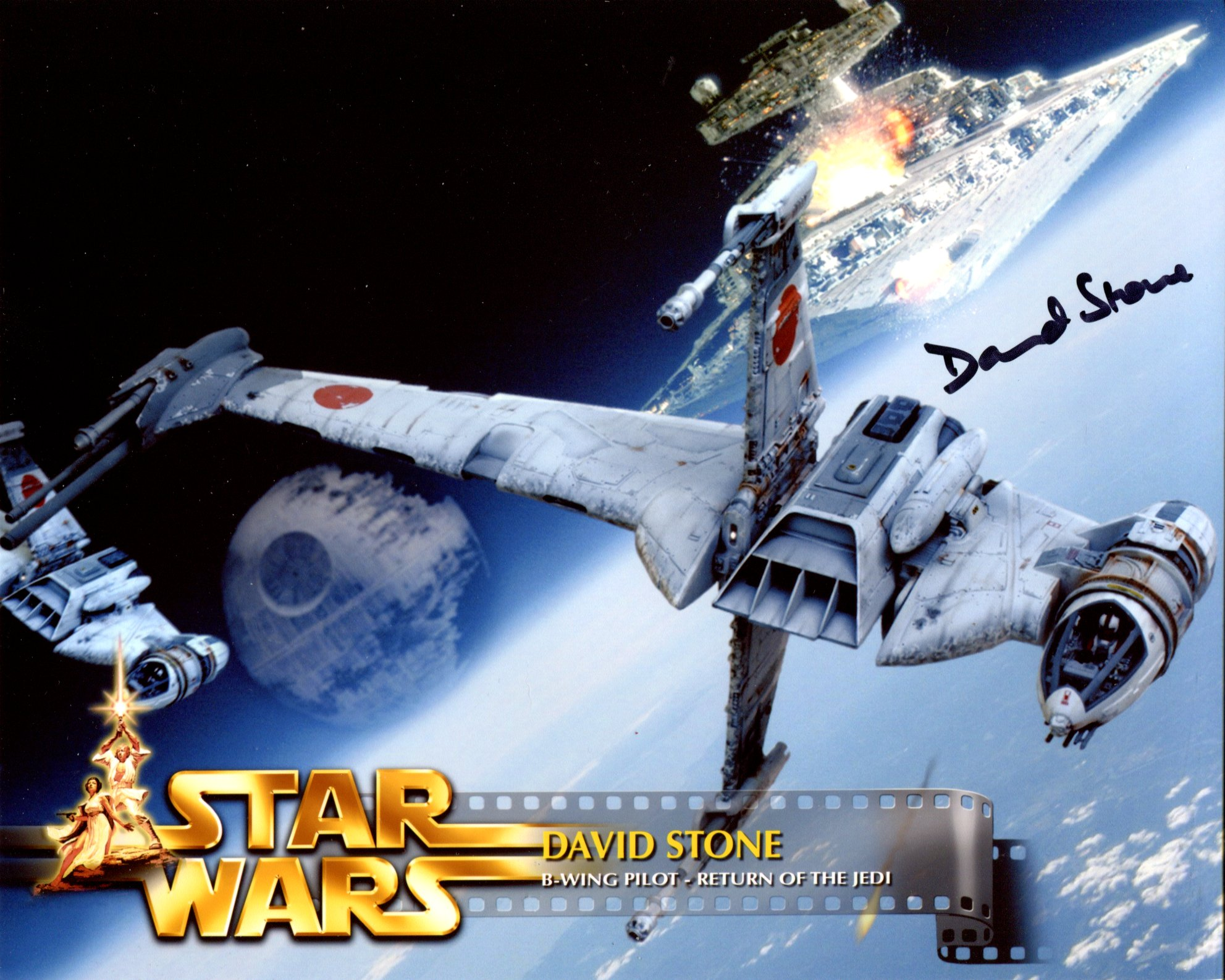 Star Wars 8x10 photo from Return of the Jedi, signed by B-Wing pilot David Stone. Good condition.