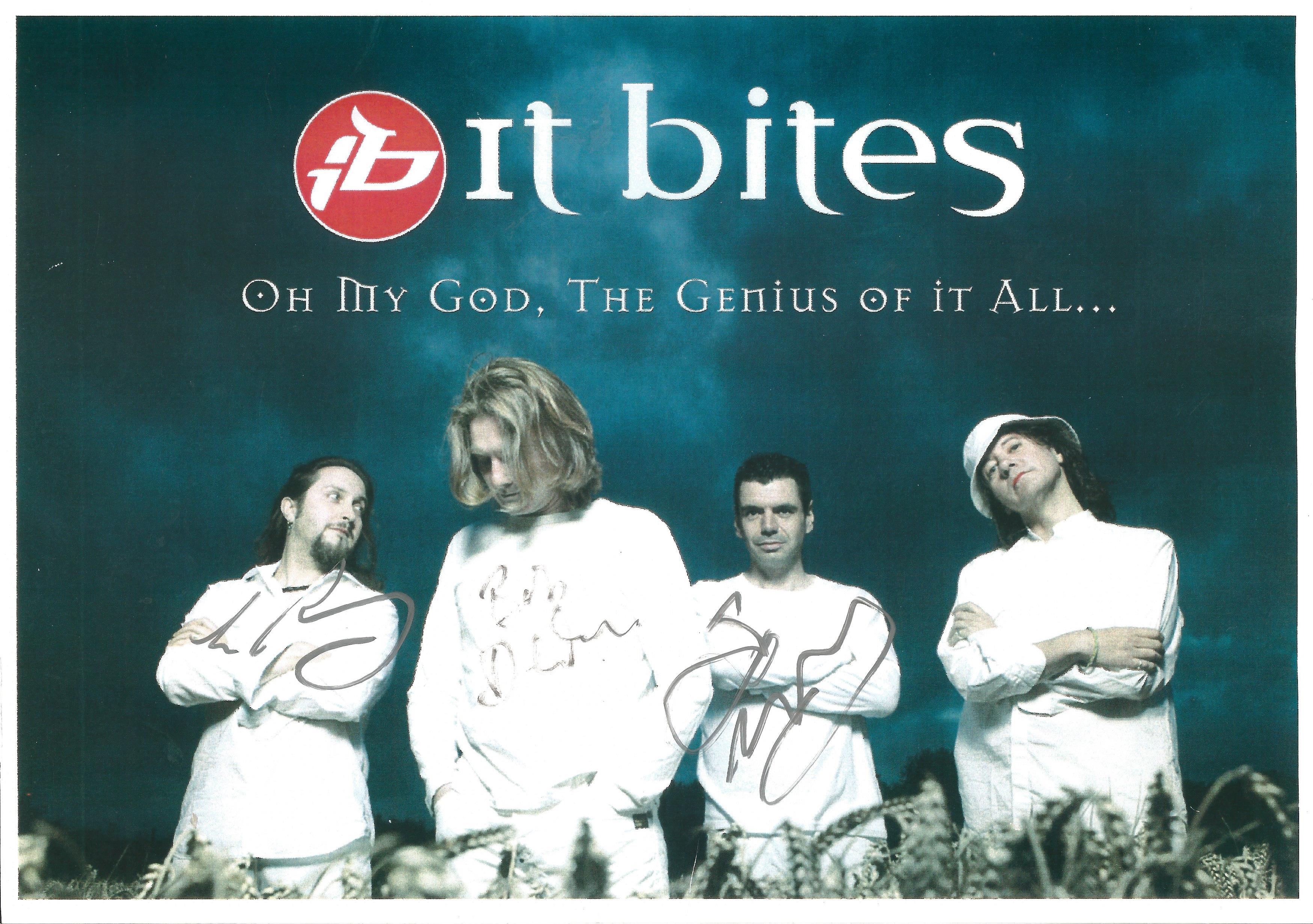IT BITES Rock Band signed 8x12 Promo Photo . Good condition. All autographs come with a