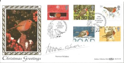 Norman Wisdom signed 1995 Benham Christmas official FDC. Good condition. All autographs come with