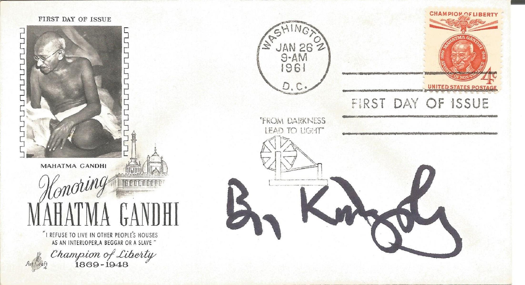 Ben Kingsley signed FDC celebrating Mahatma Gandhi, Champion of Liberty. Post marked Washington,